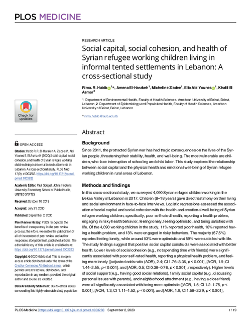 graph_publication_Social capital, social cohesion, and health of Syrian refugee working children living in informal tented settlements in Lebanon: A cross-sectional study