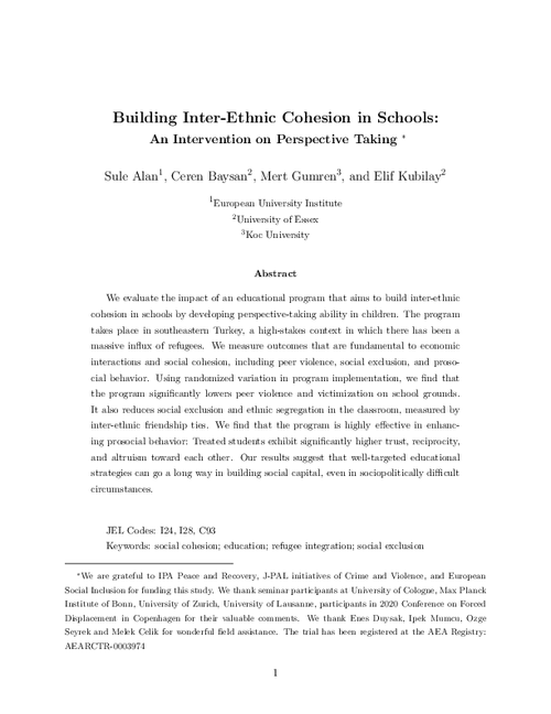 graph_publication_Building inter-ethnic cohesion in schools: An intervention on perspective-taking