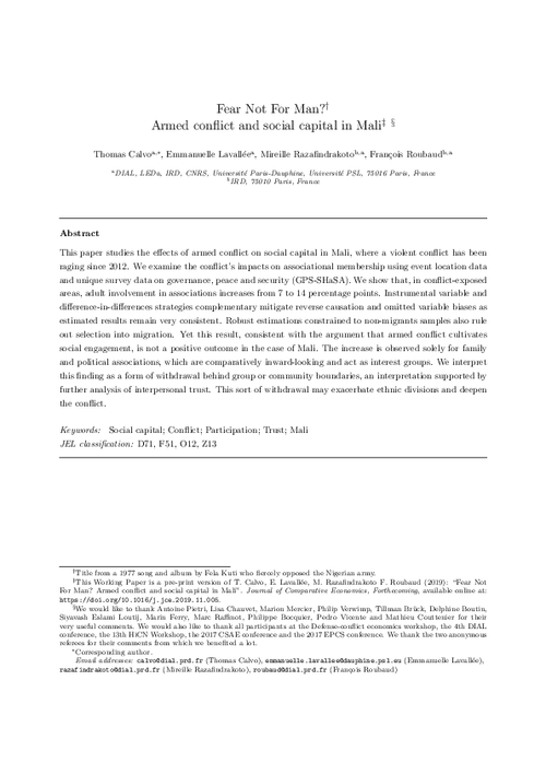 graph_publication_Fear not for man? Armed conflict and social capital in Mali