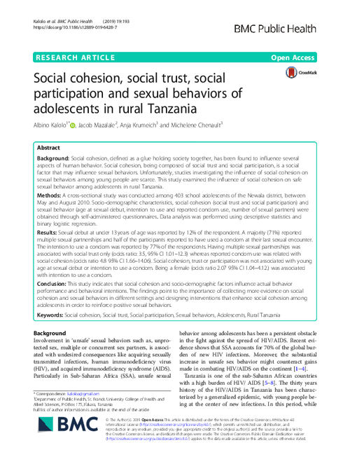 graph_publication_Social cohesion, social trust, social participation and sexual behaviors of adolescents in rural Tanzania