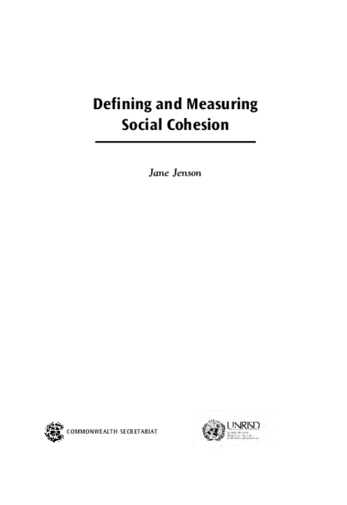 graph_publication_Defining and Measuring Social Cohesion